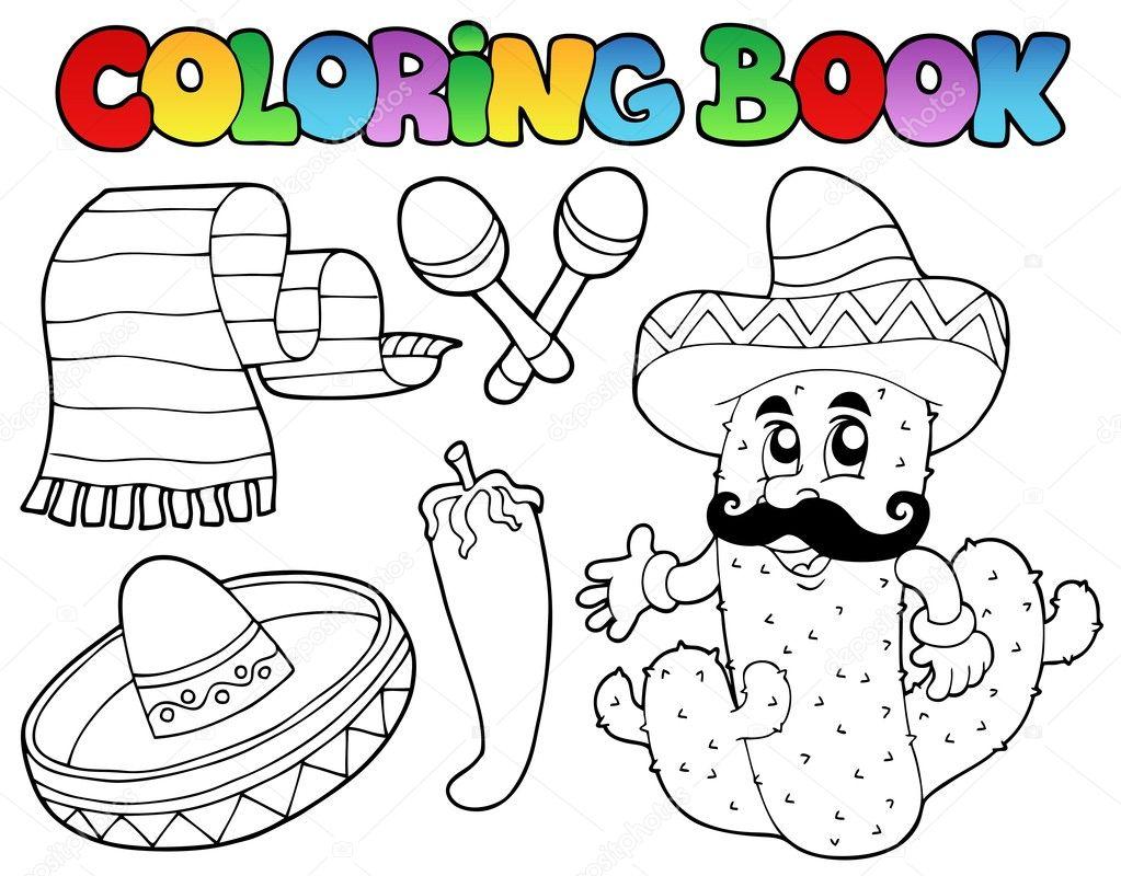 Libro de colorear con tema mexicano 2 - ilustración vectorial — Vector de  clairev 232afc4d56b