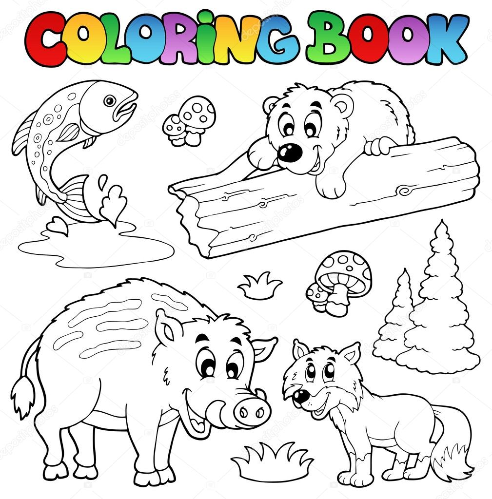 Coloring Book With Woodland Animals Stock Vector C Clairev 5955564