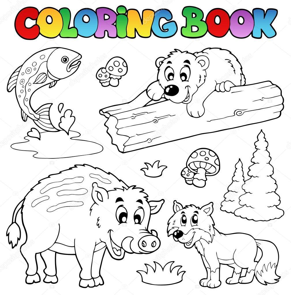 livro de colorir com animais da floresta vetor de stock clairev