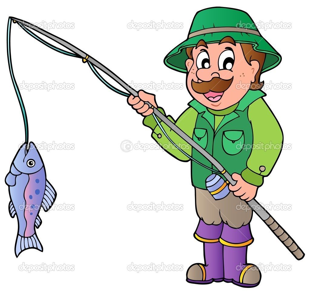 Cartoon fisherman with rod and fish — Stock Vector © clairev #6077057