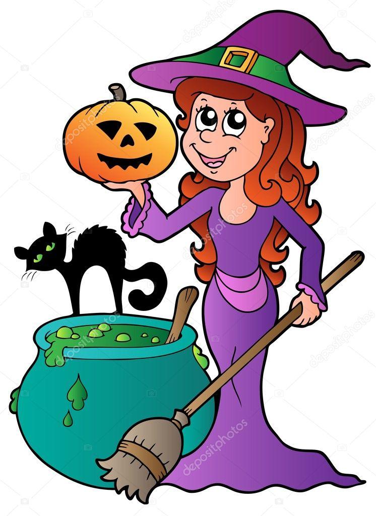 Sorcière d halloween avec chat de dessin animé — image