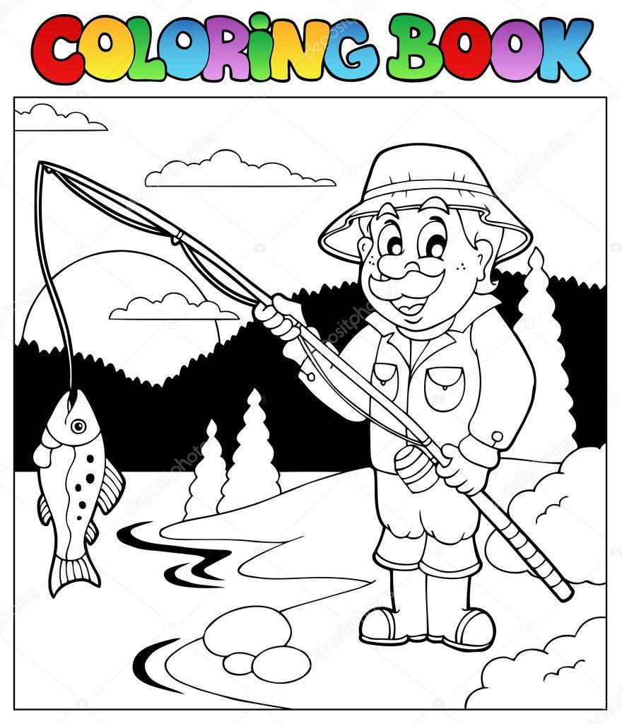 Дед на рыбалке раскраска
