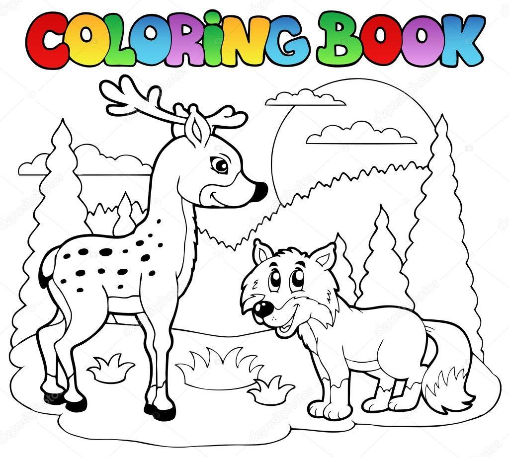 libro para colorear con animales felices 1 — Archivo Imágenes ...