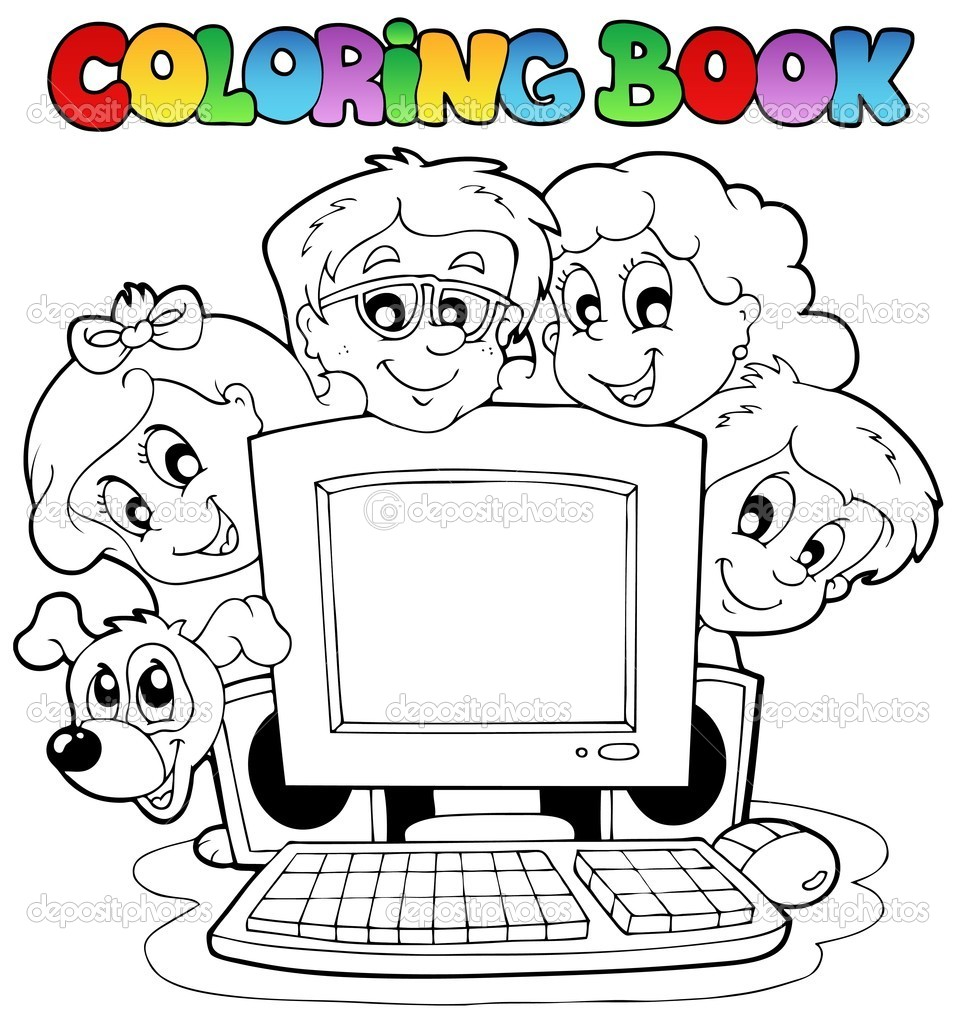 Imágenes Computadores Animados Para Niños Colorear Libro