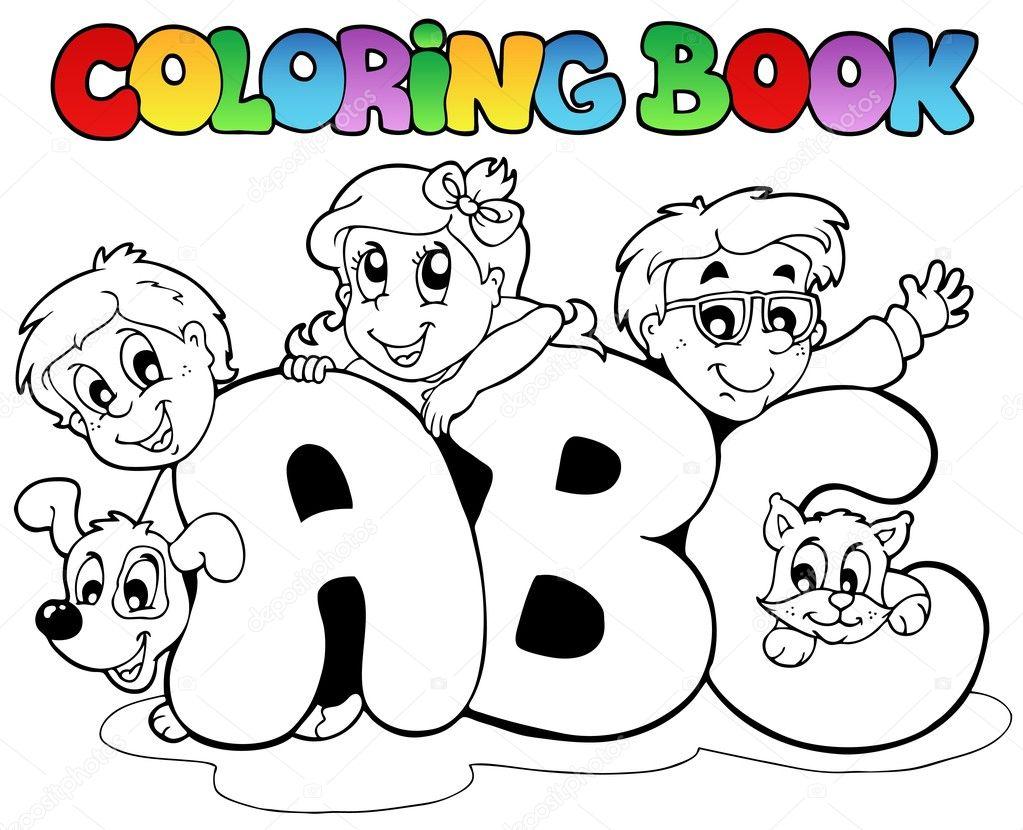 Letras de abc libro escolar para colorear — Archivo Imágenes ...
