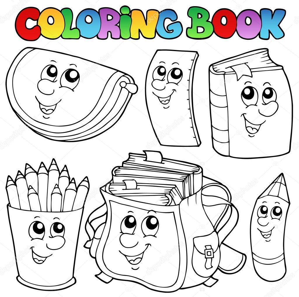 para colorear dibujos animados libro escolar 1 — Vector de stock ...