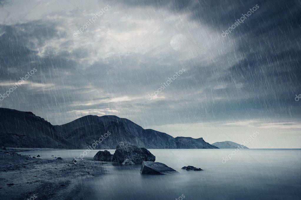 The sea and rain