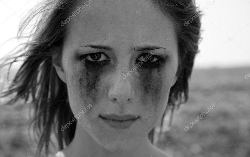 Fille Qui Pleure close-up portrait d'une fille qui pleure — photographie
