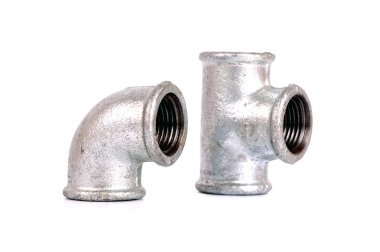 Malleable Iron Pipe Tee and Elbow 90° on the white background