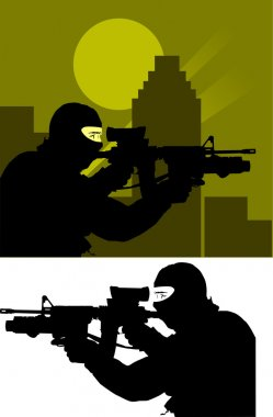 Sniper from the anti-terrorism branch on the job; stock vector
