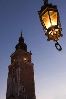 Old town hall tower in main square in Krakow