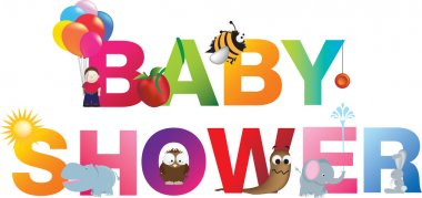 The words baby shower