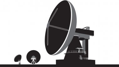 Big satellite communication dishes illustration in black