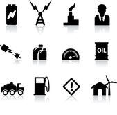 Photo set of black silhouettes for power, energy and fuel industries