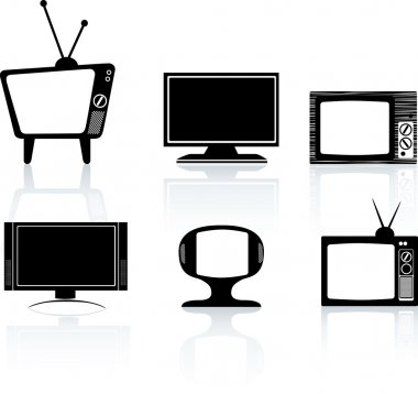Silhouettes of black televisions