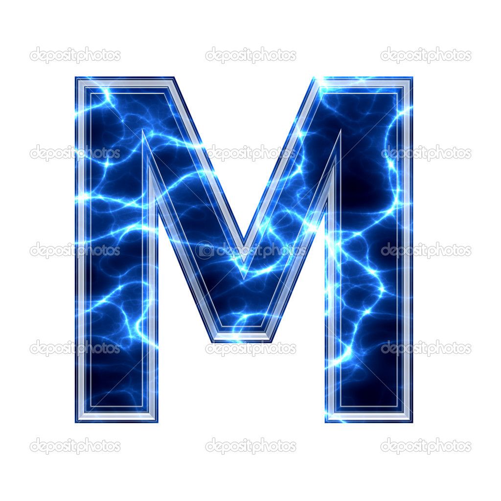 electric 3d letter on white background