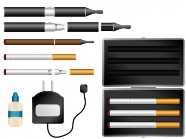 Electronic Cigarette Kit with Liquid, Charger and Case