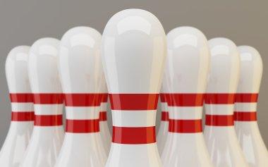 Group of bowling pins closeup