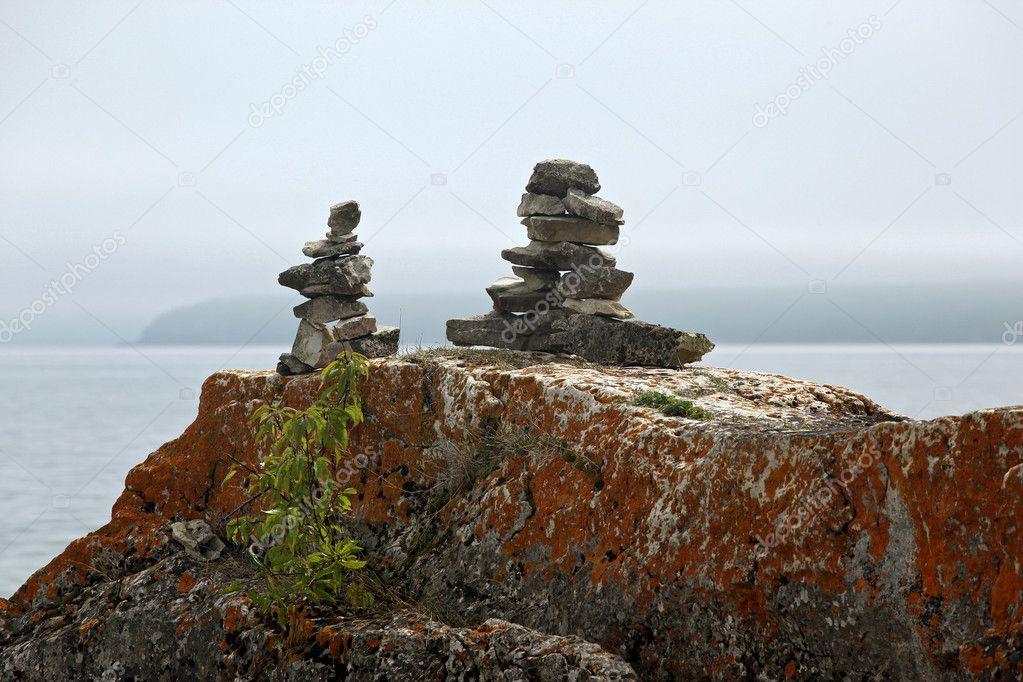 Stone marker inukshuk
