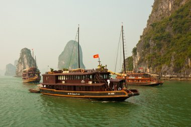 Boats in Beautiful Halong Bay