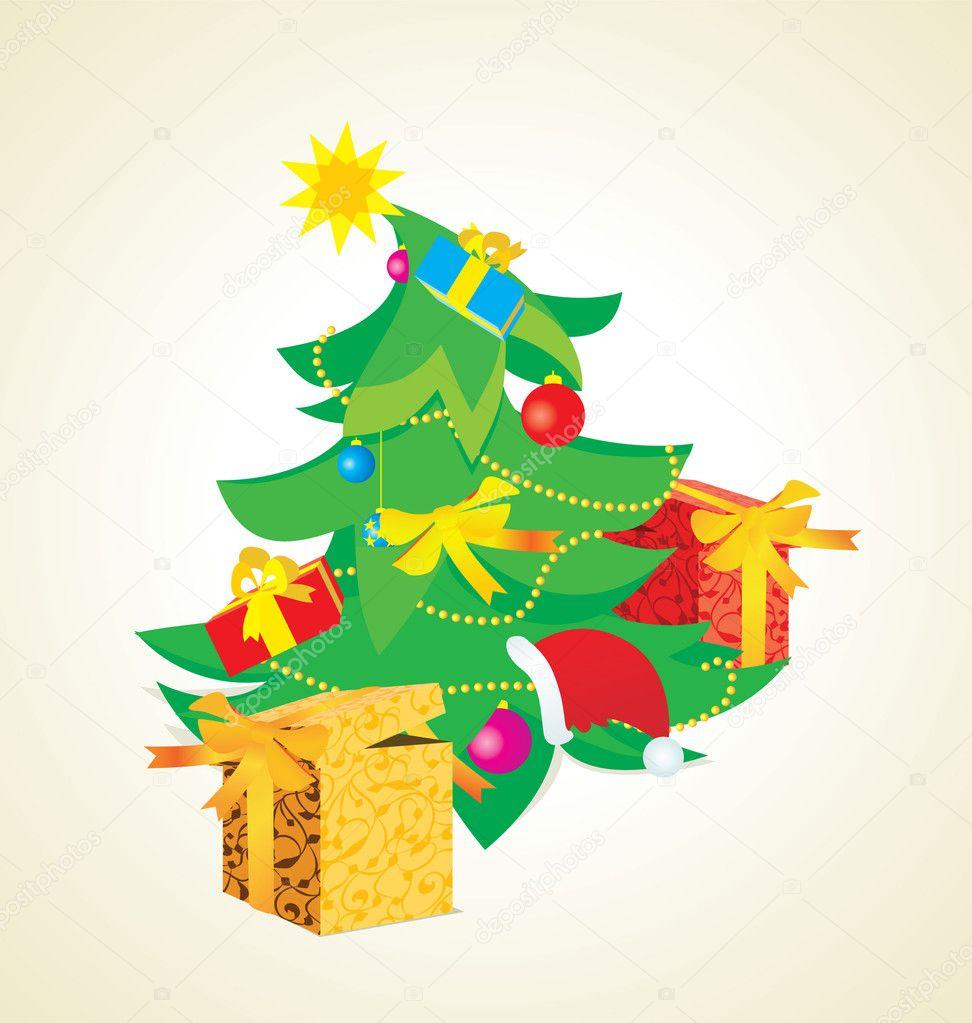 Vintage Christmas Tree Illustration Stock Photo