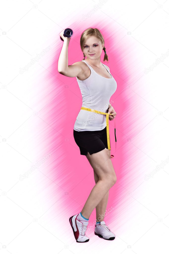 Beautiful Teen Girl In Workout Clothes With Weights — Stock Photo