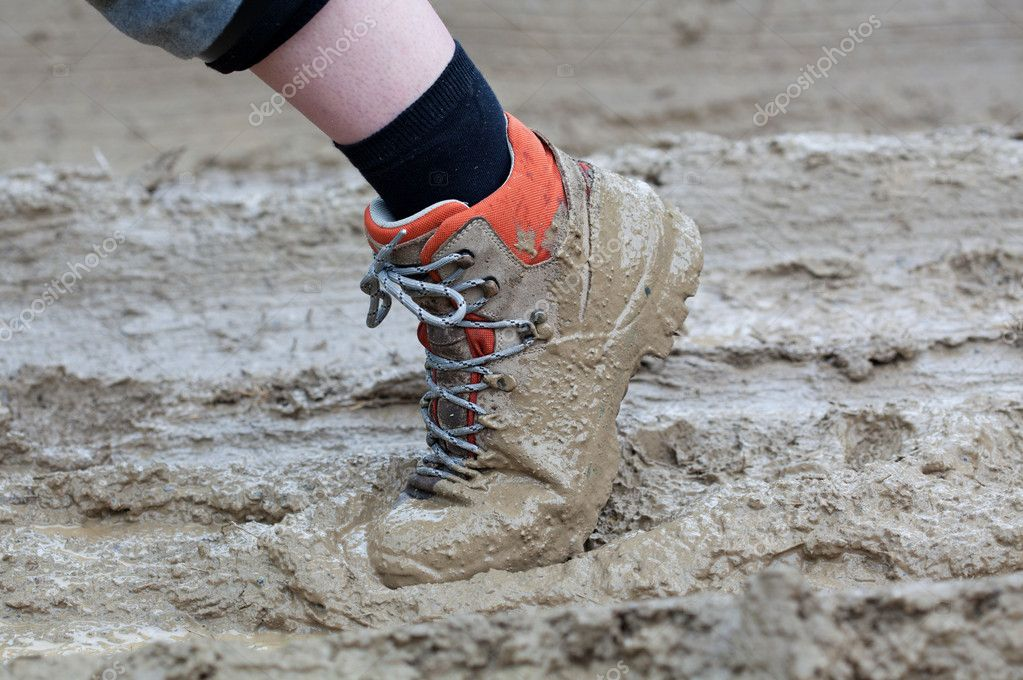 Shoe in mud