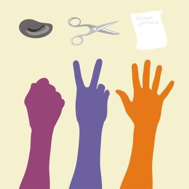Rock paper scissors hand sign