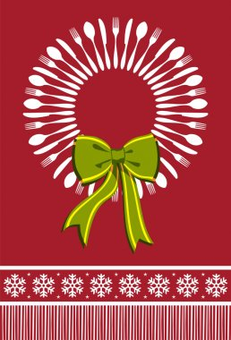 Cutlery wreath christmas background