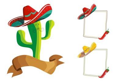 Mexican food menu design set