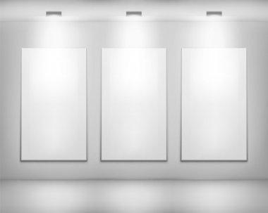 White frame in art gallery . Vector illustration. clip art vector