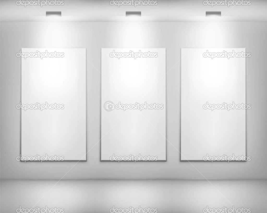 White frame in art gallery . Vector illustration. clipart vector