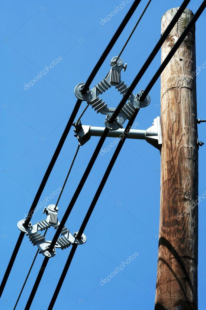 Telefonmast mit Drähten — Stockfoto © njnightsky #5519431