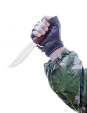 Knife in hand on a white background