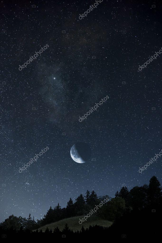 Foto Di Luna E Stelle.Luna E Stelle Foto Stock C Magann 5973182