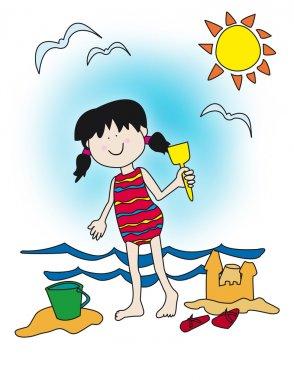 Cartoon little girl playing at the beach