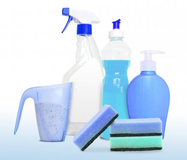 Set of unlabeleled cleaning products in blue