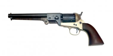 Old metal colt revolver on white background stock vector