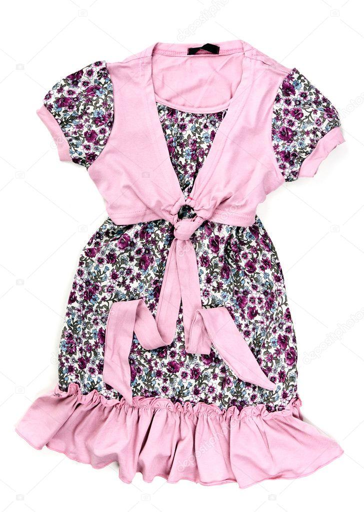 Bomull baby rosa klänning med mönster på vit bakgrund — Foto av Ruslan 1127f23fba50d
