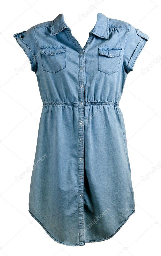 f515053a7d Kék farmer ruha elszigetelt fehér background — Fotó szerzőtől ...