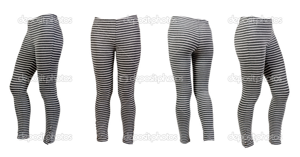 b749a1983a90f Four gray striped leggings collage isolated on a white background. Image  composed of several photographs.
