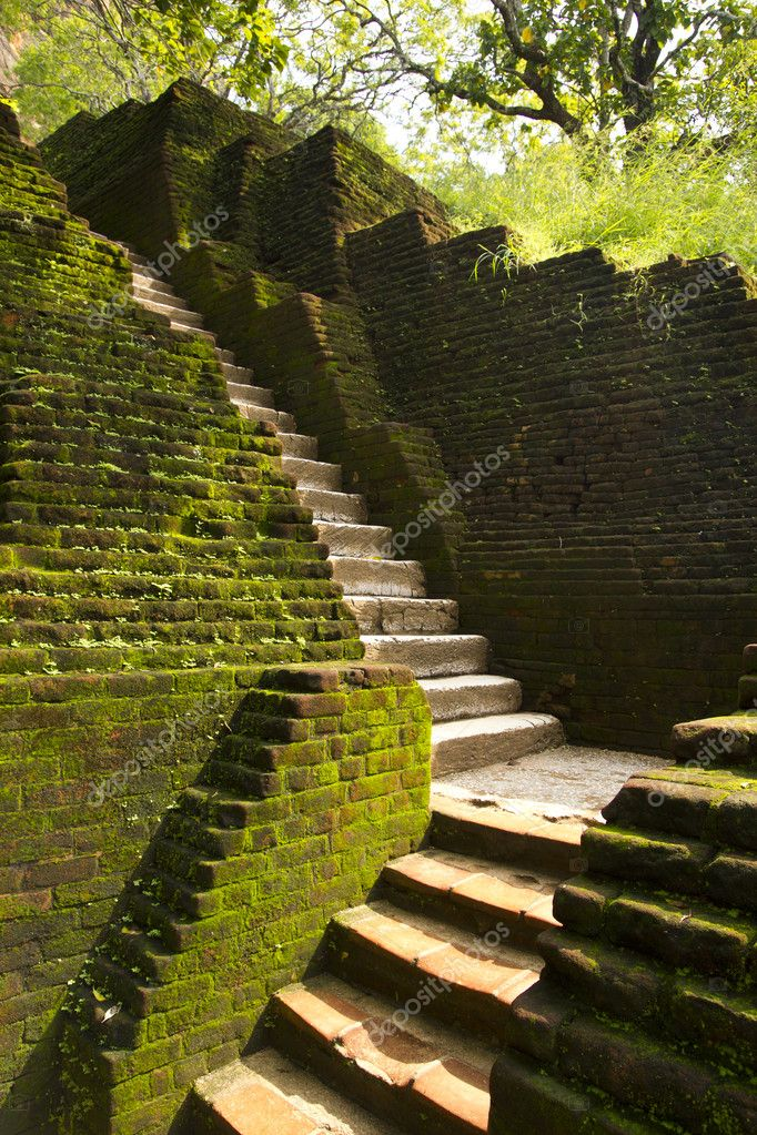 Steps of ancient Lion Rock Fortress in Sri Lanka