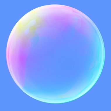 Soap Bubble ball translucent colored as rainbow. Clear sphere concept.