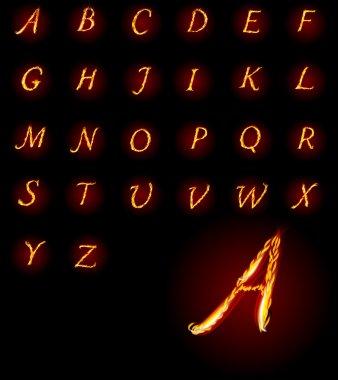 ABC Fire letters. Vector illustration