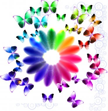 Abstract bright background with flower and butterflies clip art vector
