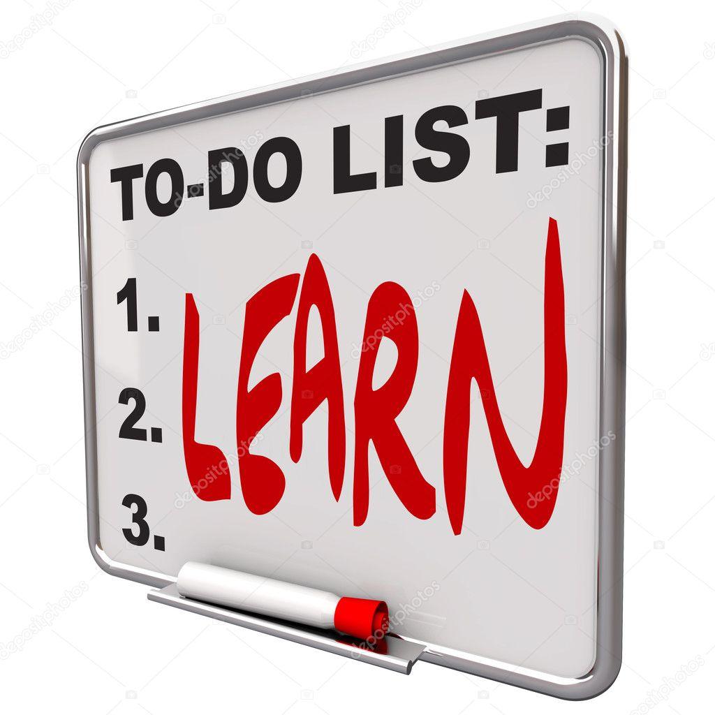lista de tareas - aprender - Junta de borrado en seco — Fotos de ...