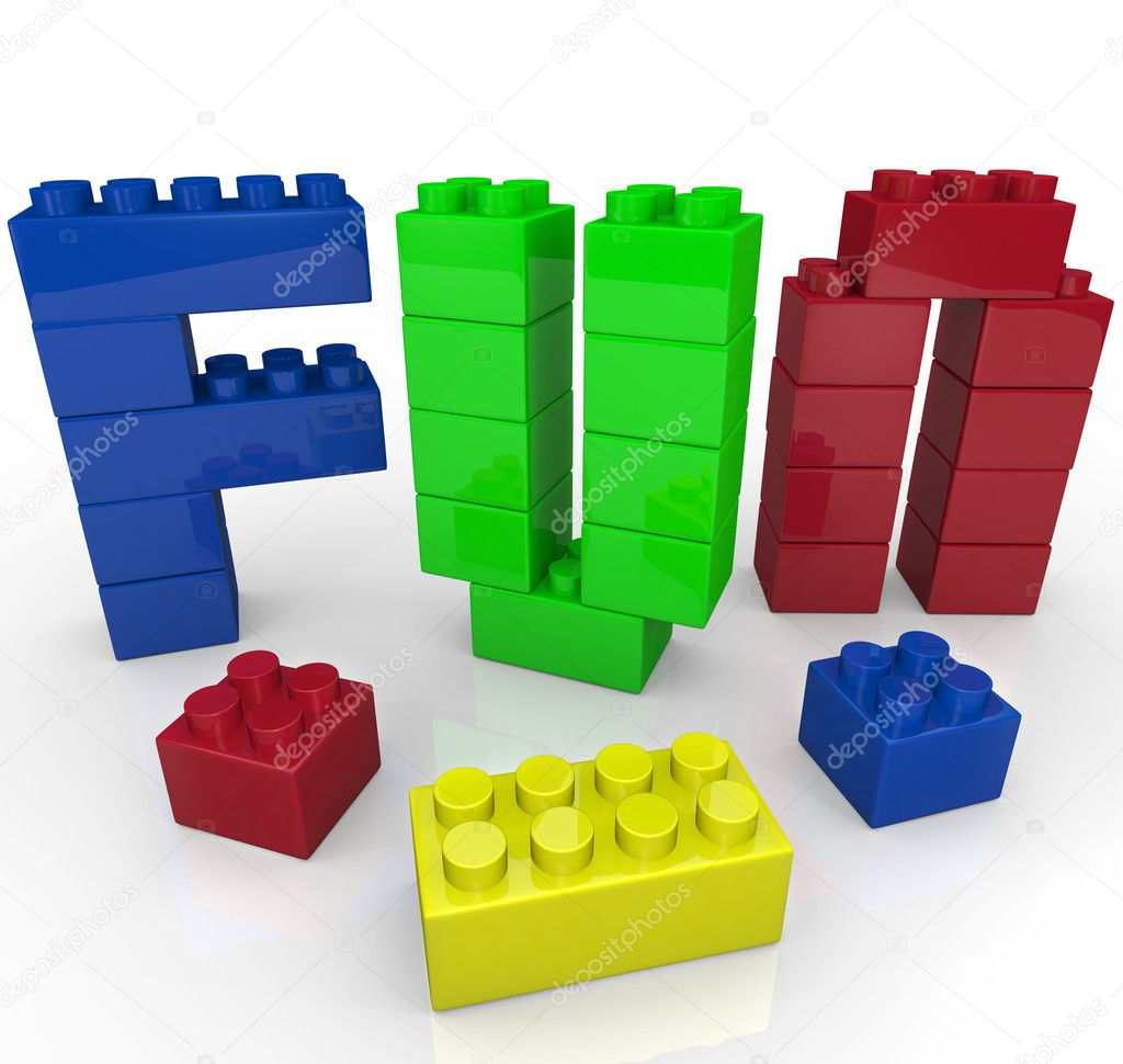 Fun Word Built with Toy Building Blocks — Stock Photo ...