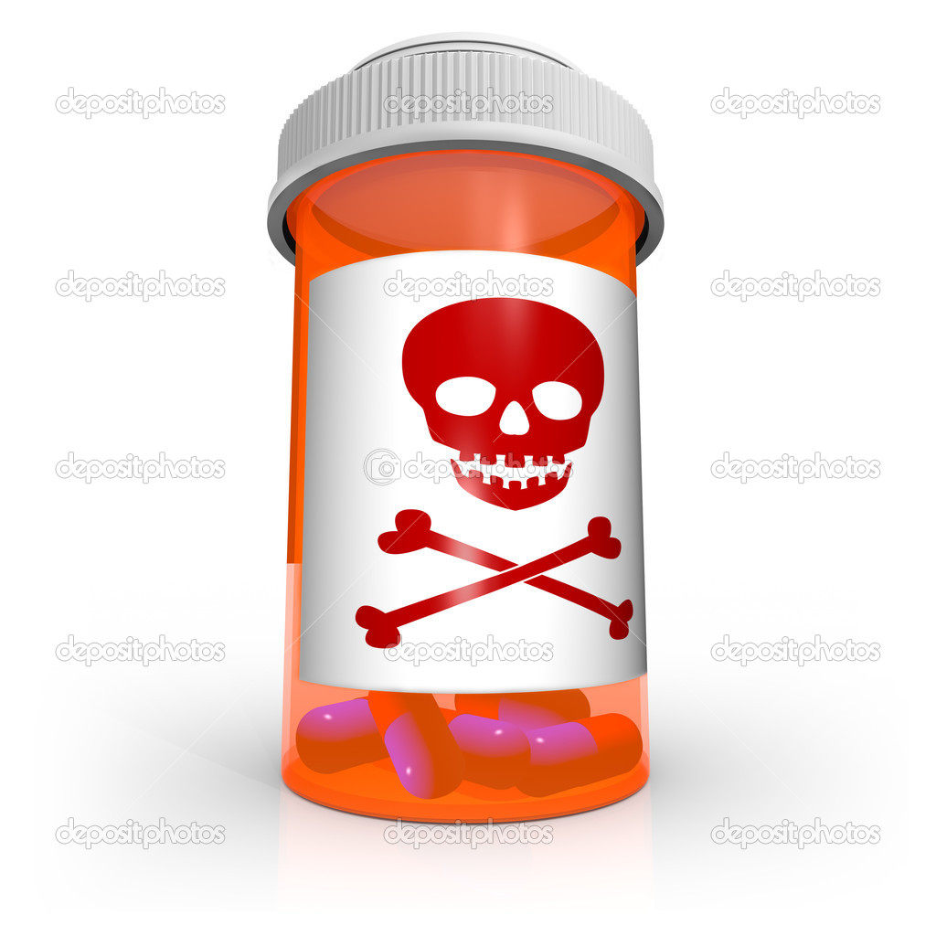 Poison Skull And Crossbones Symbol On Medicine Bottle Stock Photo