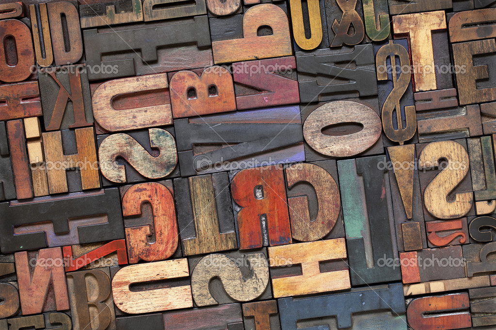 Letterpress wood type with ink patina