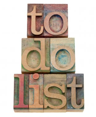 To do list headline in letterpress type